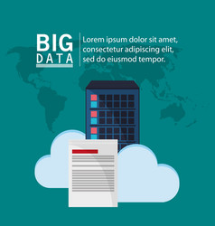 big data cloud information document vector image