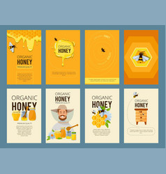 cards with of apiary vector image vector image