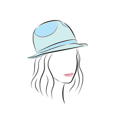cute young girl in little blue hat vector image vector image