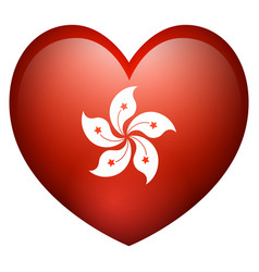 flag of hong kong in heart shape vector image vector image