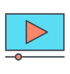 playing video line icon vector image vector image