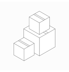 Stack of cardboard boxes icon isometric 3d style vector image vector image