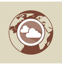 Weather forecast globe cloud with shadow icon vector