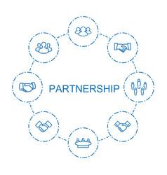 8 partnership icons vector