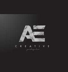 Ae a d letter logo with zebra lines texture vector