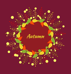 autumn round frame of red yellow green orange vector image