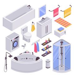 Bathroom isometric set vector