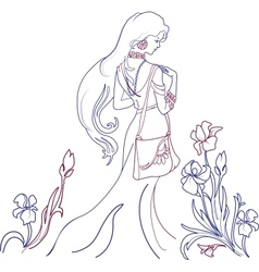 Beautiful woman with lilies vector image