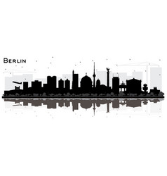 Berlin germany skyline silhouette with black vector