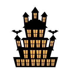 Big haunted house with bats over white background vector