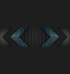 black abstract technology banner with blue dots vector image