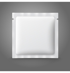Blank white plastic sachet for medicine condoms vector