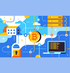 Blockchain and bitcoin mining technologies vector