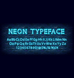 blue neon light glowing latin alphabet vector image