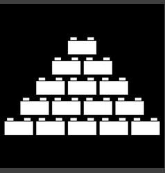 Building block white color icon vector