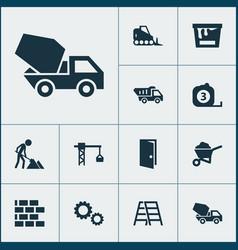 building icons set with bulldozer wheelbarrow vector image