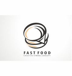 burger fast food logo vector image