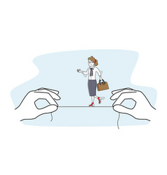 businesswoman character walking and balancing vector image