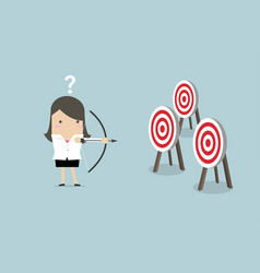 Businesswoman holding bow and arrow vector
