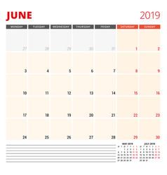 calendar planner template for june 2019 week vector image