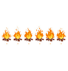 Camp fire sprites for animation vector