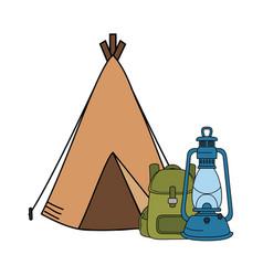 Camping tent with kerosene lantern and bag vector