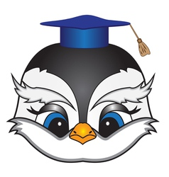 Cartoon bird in a square academic cap vector