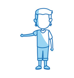 cartoon boy kid hand gesture image vector image