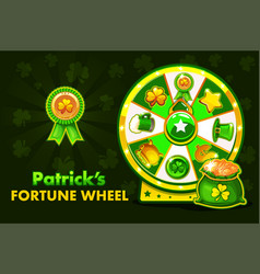 cartoon patrick s lucky roulette spinning fortune vector image