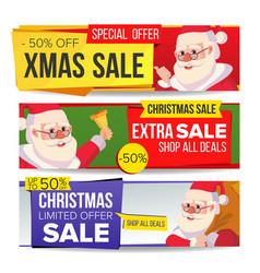 christmas sale banner set merry christmas vector image