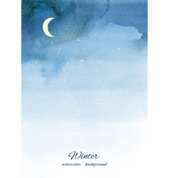 christmas winter watercolor background with vector image