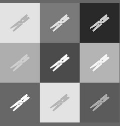 Clothes peg sign grayscale version of vector
