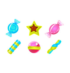 Collection glossy candies colorful sweets of vector