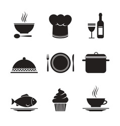 Collection of restaurant design elements vector image