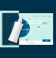 Cosmetic bottle on modern site template vector