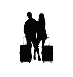 Couple with travel bag vector
