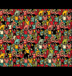Crowd big group people seamless pattern vector