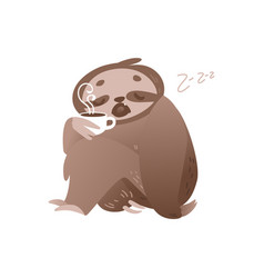 Cute sleepy sloth with cup of hot coffee for vector