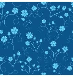dark blue seamless floral pattern vector image