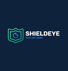 eye and shield monitoring logo icon security vector image