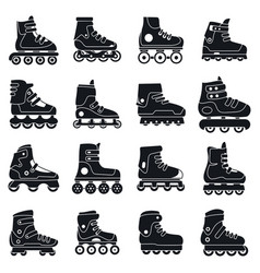 Fitness inline skates icons set simple style vector
