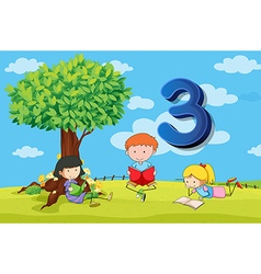 flashcard number 3 with three children in park vector image