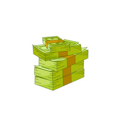 flat cash money pile stack vector image