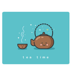 Flat icon of tea time tea pot and cups cute vector