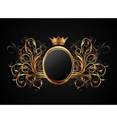 Floral frame with heraldic crown vector