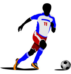 Football playeron the field colored vector