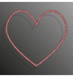 Frame Red Sequins Heart Glitter sparkle vector image
