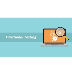 functional testing with notebook or laptop with vector image