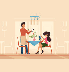 girl makes order with waiter in restaurant vector image