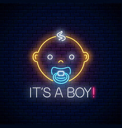 glowing neon sign of baby boy birth celebration vector image